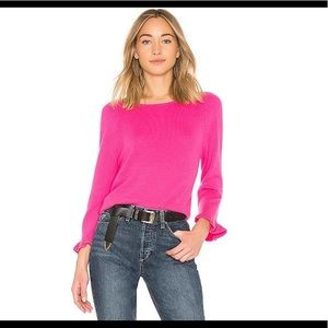 autumn cashmere electric pink ruffle sweater